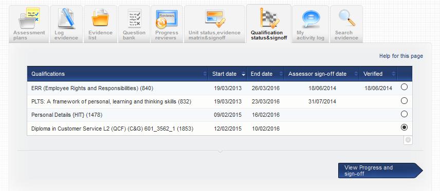 VQmanager eportfolio qualification progress summary