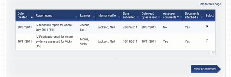 VQmanager eportfolio IQA/IV feedback