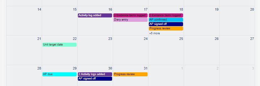 VQmanager eportfolio calendar