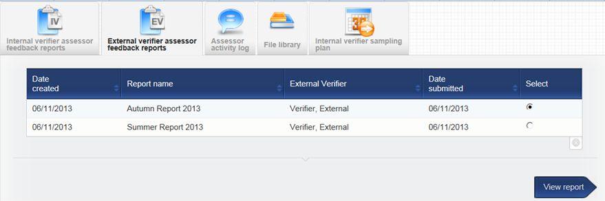 VQmanager eportfolio EQA/EV feedback